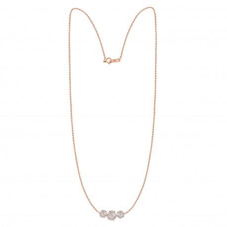 Diamond Round Pressure Setting Trilogy Necklace(Medium)