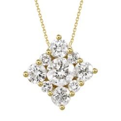 Diamond Square Pressure Setting Necklace(Large)