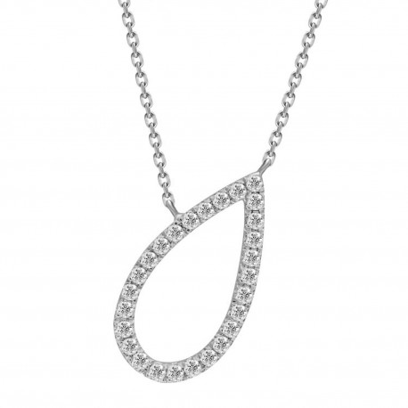 Diamond Open Pear shape Necklace