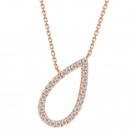 Diamond Open Pear shape Necklace
