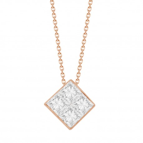 4-Princess-cut Diamond  Mistery Setting Necklace(Small)
