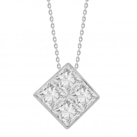 4-Princess-cut Diamond Mistery Setting Necklace(Medium)