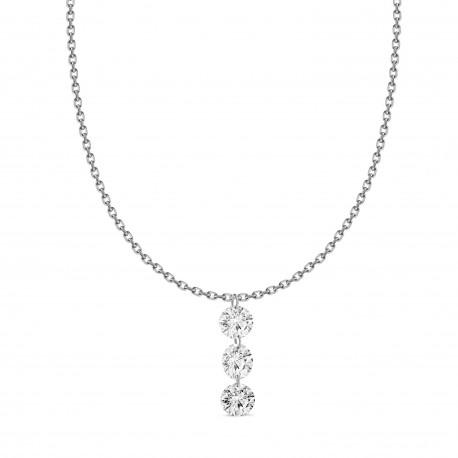 18K Laser hole Diamond 3 stone  Necklace