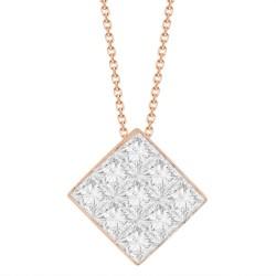 9-Princess-cut Diamond Mistery Setting Necklace(Small)