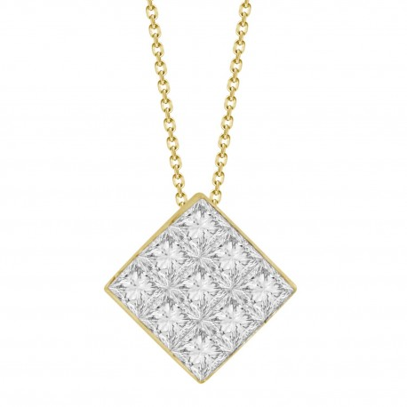 9-Princess-cut Diamond Mistery Setting Necklace(Medium)
