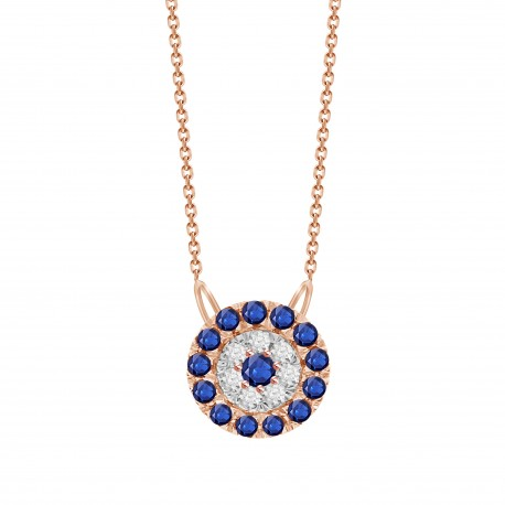Sapphire/Diamond Round shaped Necklace