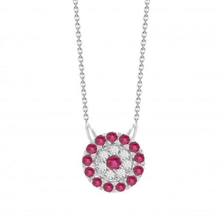 Ruby/Diamond Round shaped Necklace
