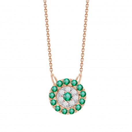 Emerald/Diamond Round shaped Necklace