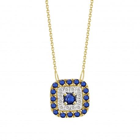 Sapphire/Diamond Square shaped Necklace