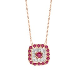 Ruby/Diamond Square shaped Necklace