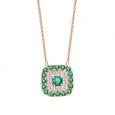 Emerald/Diamond Square shaped Necklace