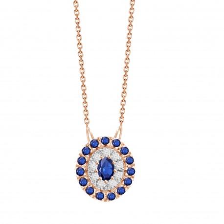 Sapphire/Diamond Oval shaped Necklace