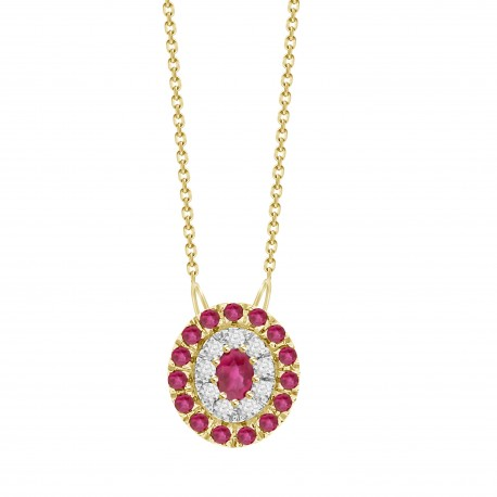 Ruby/Diamond Oval shaped Necklace