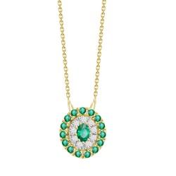 Emerald/Diamond Oval shaped Necklace