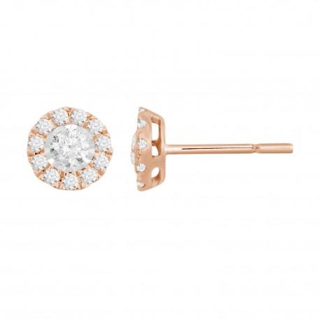 Diamond Round shaped Halo Earring