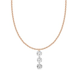 18K Laser hole Diamond 3 stone  Necklace