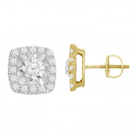 Diamond Square shaped Hallo Earring