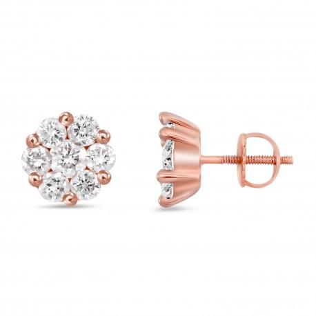 Diamond Round shape Earring(Medium)