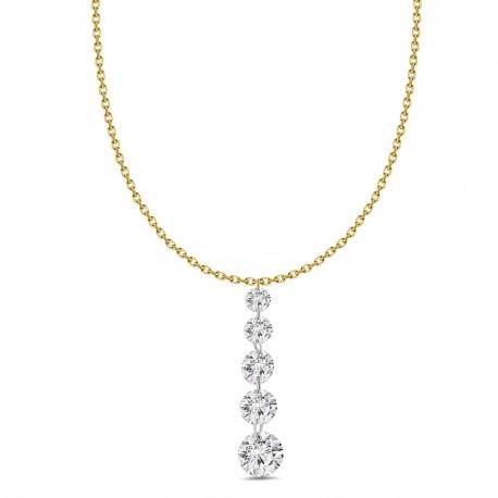Laser Hole Diamond 5 Stone Necklace