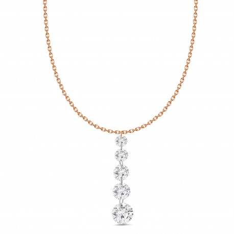 Laser Hole Diamond 5 Stone Necklace