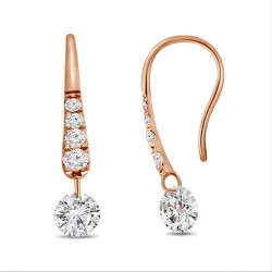 Laser Hole Diamond Hook Earring(with Diamond)
