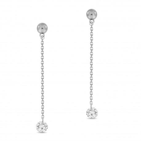 Laser Hole Diamond Chain Drop Earring