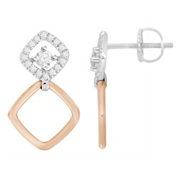 Diamond Square 2 Way Earring