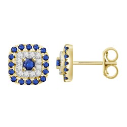 Sapphire/Diamond Square shaped Earring