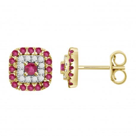 Ruby/Diamond Square shaped Earring