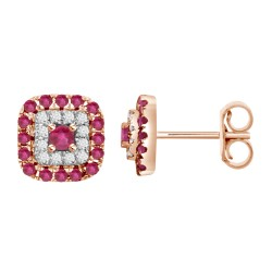 Ruby/Diamond Square shaped Earring