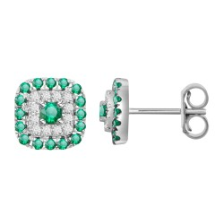 Emerald/Diamond Square shaped Earring