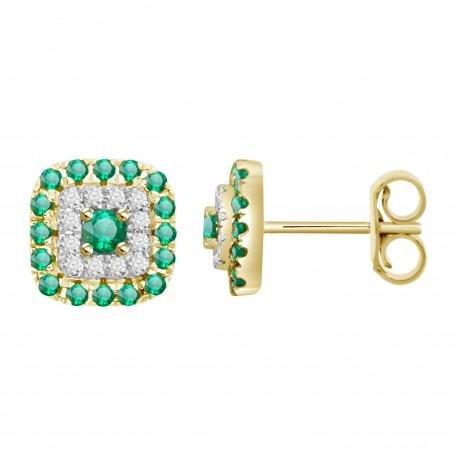 Emerald/Diamond Square shaped Earring