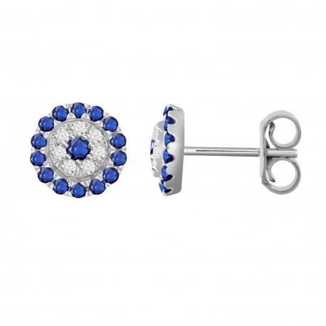 Sapphire/Diamond Round shaped Earring