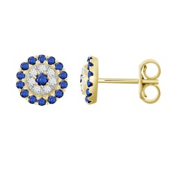 Sapphire/Diamond Round shaped Earring