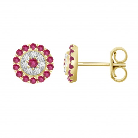 Ruby/Diamond Round shaped Earring