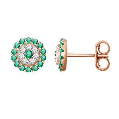 Emerald/Diamond Round shaped Earring