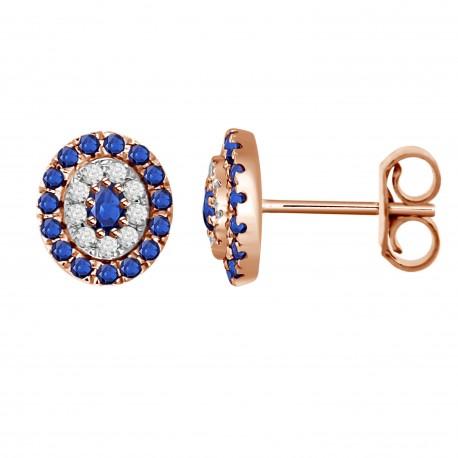 Sapphire/Diamond Oval shaped Earring