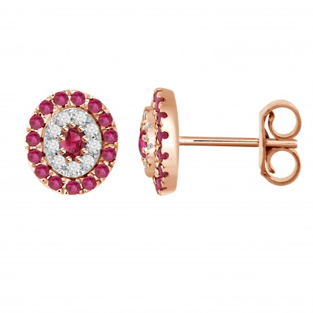 Ruby/Diamond Oval shaped Earring