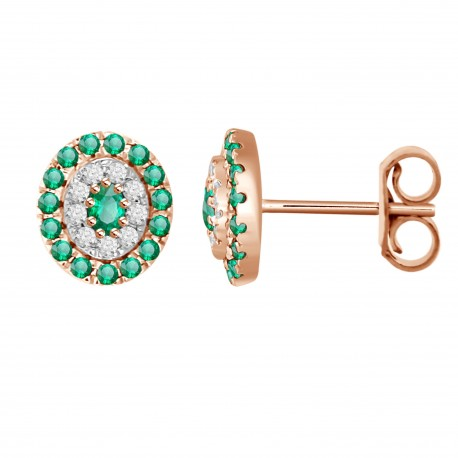 Emerald/Diamond Oval shaped Earring