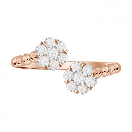 Diamond Round Pressure Setting Twin Ring
