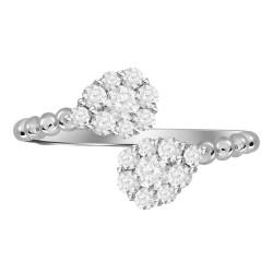 Diamond Pear Pressure Setting Twin Ring