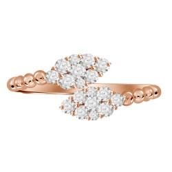 Diamond Marquise Pressure Setting Twin Ring