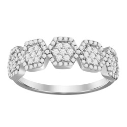 Diamond 5 Hexagon Cluster Ring