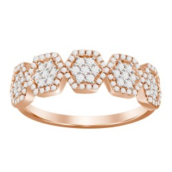 Diamond 5 Hexagon Cluster Ring