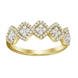 Diamond 5 Squared Cluster Ring