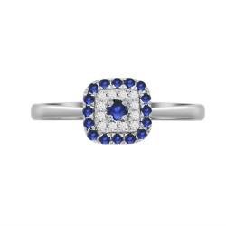 Sapphire/Diamond Square shaped Ring