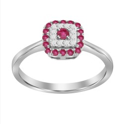 Ruby/Diamond Square shaped Ring