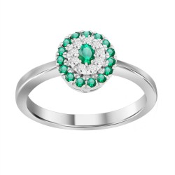 Emerald/Diamond Oval shaped Ring