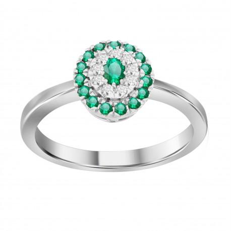 Emerald/Diamond Oval shaped Ring