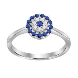 Sapphire/Diamond Round shaped Ring